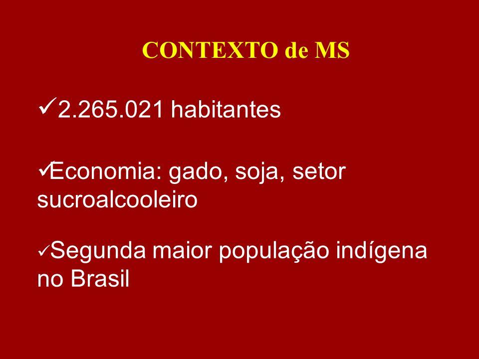 CONTEXTO de MS Segunda maior população indígena no Brasil 2.265.021 habitantes Economia: gado, soja, setor sucroalcooleiro