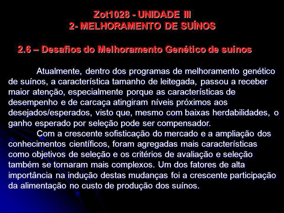 2.6 – Desafios do Melhoramento Genético de suínos Atualmente, dentro dos programas de melhoramento genético de suínos, a característica tamanho de lei