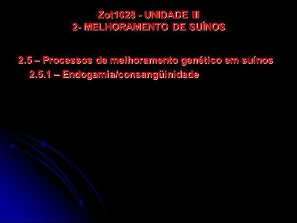 Zot1028 - UNIDADE III 2- MELHORAMENTO DE SUÍNOS 2.5 – Processos de melhoramento genético em suínos 2.5.1 – Endogamia/consangüinidade