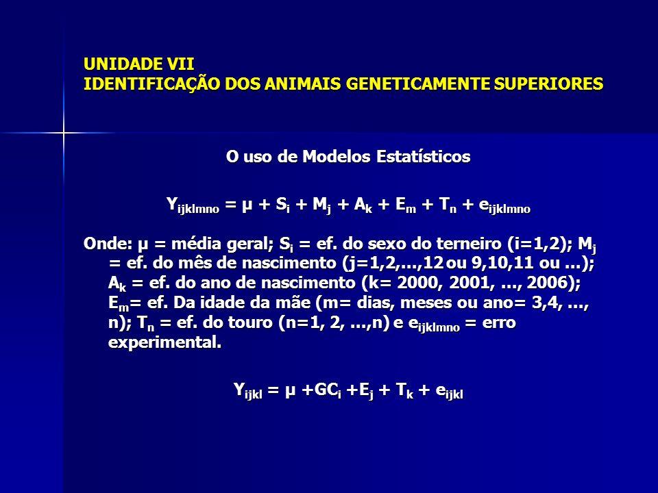 UNIDADE VII IDENTIFICAÇÃO DOS ANIMAIS GENETICAMENTE SUPERIORES O uso de Modelos Estatísticos Y ijklmno = µ + S i + M j + A k + E m + T n + e ijklmno Onde: µ = média geral; S i = ef.