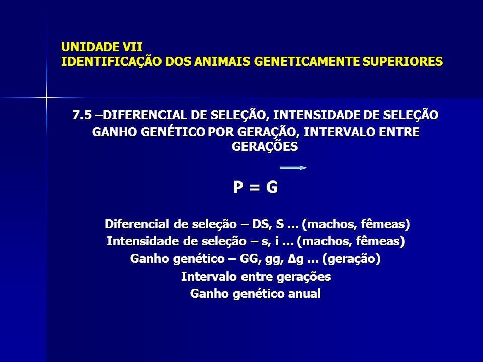 UNIDADE VII IDENTIFICAÇÃO DOS ANIMAIS GENETICAMENTE SUPERIORES 7.5 –DIFERENCIAL DE SELEÇÃO, INTENSIDADE DE SELEÇÃO GANHO GENÉTICO POR GERAÇÃO, INTERVALO ENTRE GERAÇÕES P = G Diferencial de seleção – DS, S...