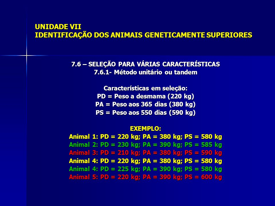 UNIDADE VII IDENTIFICAÇÃO DOS ANIMAIS GENETICAMENTE SUPERIORES 7.6 – SELEÇÃO PARA VÁRIAS CARACTERÍSTICAS 7.6.1- Método unitário ou tandem Característi