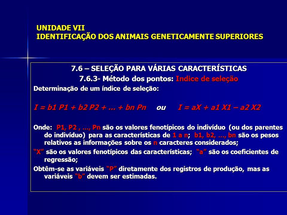 UNIDADE VII IDENTIFICAÇÃO DOS ANIMAIS GENETICAMENTE SUPERIORES 7.6 – SELEÇÃO PARA VÁRIAS CARACTERÍSTICAS 7.6.3- Método dos pontos: Indice de seleção Determinação de um índice de seleção: I = b1 P1 + b2 P2 +...