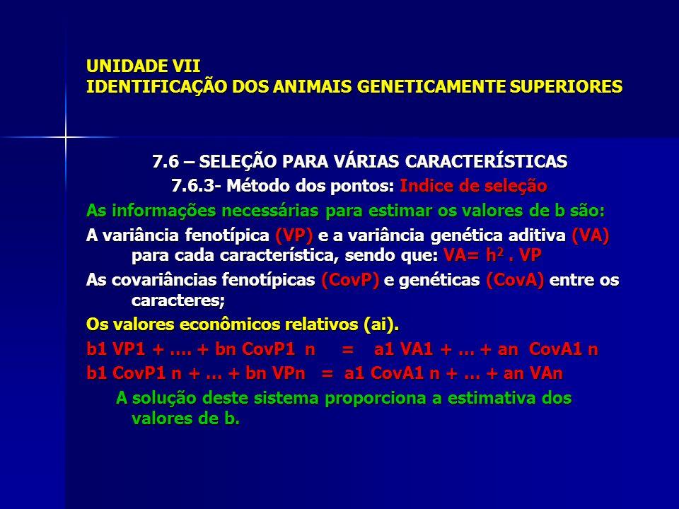 UNIDADE VII IDENTIFICAÇÃO DOS ANIMAIS GENETICAMENTE SUPERIORES 7.6 – SELEÇÃO PARA VÁRIAS CARACTERÍSTICAS 7.6.3- Método dos pontos: Indice de seleção A