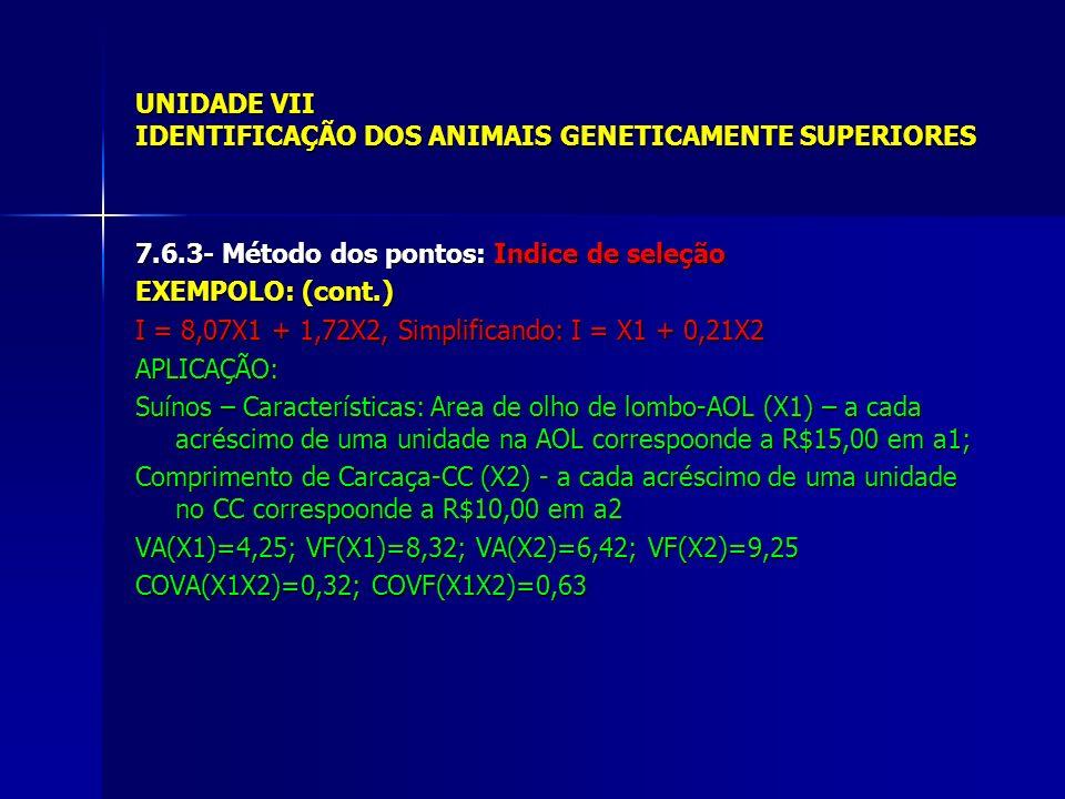UNIDADE VII IDENTIFICAÇÃO DOS ANIMAIS GENETICAMENTE SUPERIORES 7.6.3- Método dos pontos: Indice de seleção EXEMPOLO: (cont.) I = 8,07X1 + 1,72X2, Simplificando: I = X1 + 0,21X2 APLICAÇÃO: Suínos – Características: Area de olho de lombo-AOL (X1) – a cada acréscimo de uma unidade na AOL correspoonde a R$15,00 em a1; Comprimento de Carcaça-CC (X2) - a cada acréscimo de uma unidade no CC correspoonde a R$10,00 em a2 VA(X1)=4,25; VF(X1)=8,32; VA(X2)=6,42; VF(X2)=9,25 COVA(X1X2)=0,32; COVF(X1X2)=0,63