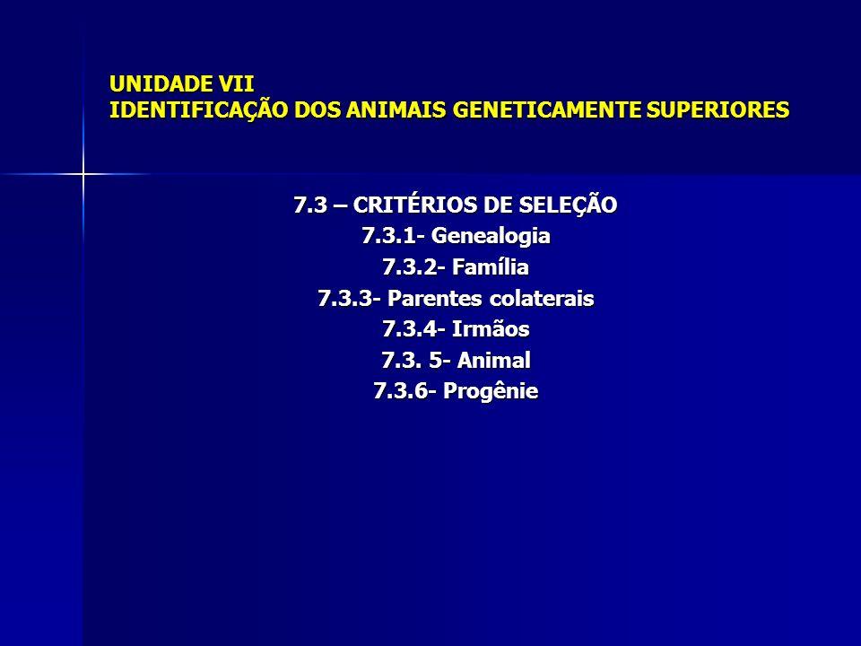 UNIDADE VII IDENTIFICAÇÃO DOS ANIMAIS GENETICAMENTE SUPERIORES 7.3 – CRITÉRIOS DE SELEÇÃO 7.3.1- Genealogia 7.3.2- Família 7.3.3- Parentes colaterais 7.3.4- Irmãos 7.3.