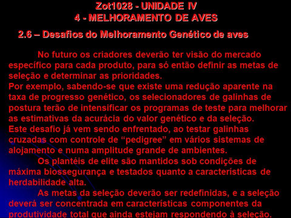 Zot1028 - UNIDADE IV 4 - MELHORAMENTO DE AVES 2.6 – Desafios do Melhoramento Genético de aves No futuro os criadores deverão ter visão do mercado espe