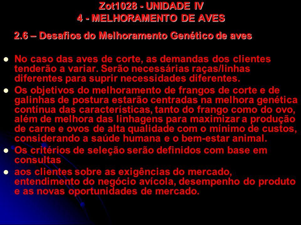 Zot1028 - UNIDADE IV 4 - MELHORAMENTO DE AVES No caso das aves de corte, as demandas dos clientes tenderão a variar. Serão necessárias raças/linhas di