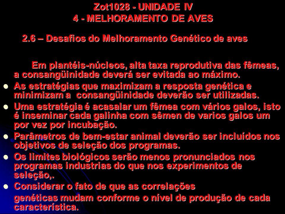 Zot1028 - UNIDADE IV 4 - MELHORAMENTO DE AVES Em plantéis-núcleos, alta taxa reprodutiva das fêmeas, a consangüinidade deverá ser evitada ao máximo. A