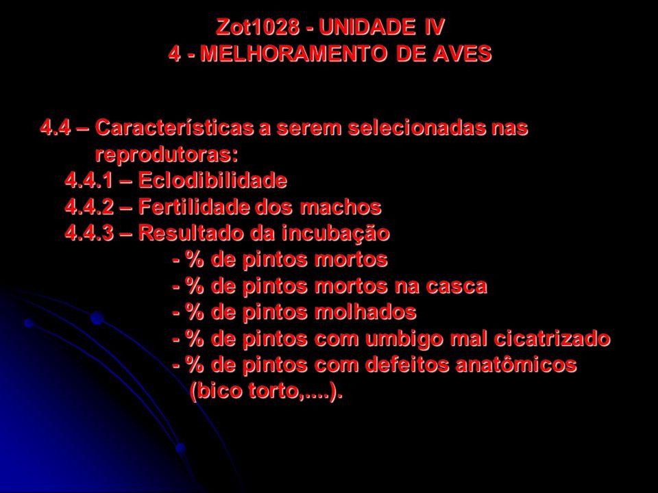 Zot1028 - UNIDADE IV 4 - MELHORAMENTO DE AVES 4.4 – Características a serem selecionadas nas reprodutoras: reprodutoras: 4.4.1 – Eclodibilidade 4.4.2