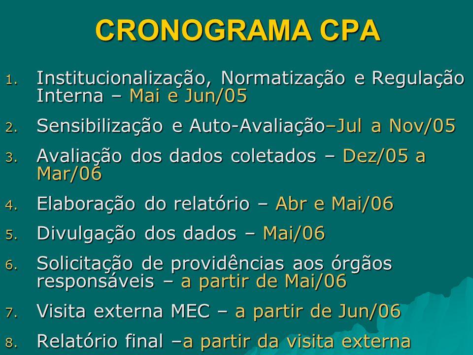 CRONOGRAMA CPA 1. Institucionalização, Normatização e Regulação Interna – Mai e Jun/05 2. Sensibilização e Auto-Avaliação–Jul a Nov/05 3. Avaliação do