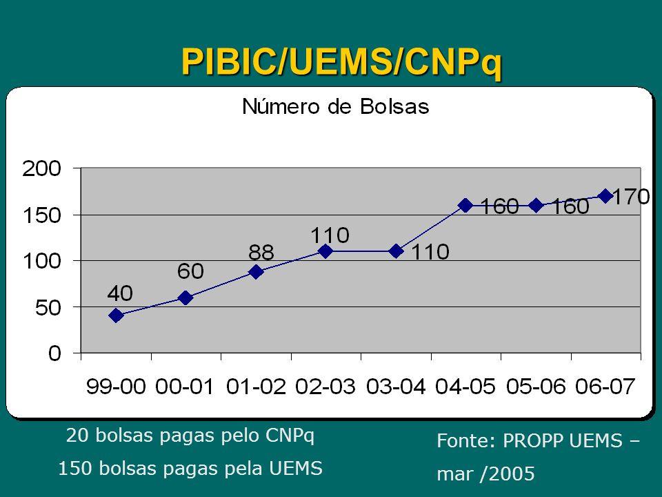 PIBIC/UEMS/CNPq 20 bolsas pagas pelo CNPq 150 bolsas pagas pela UEMS Fonte: PROPP UEMS – mar /2005