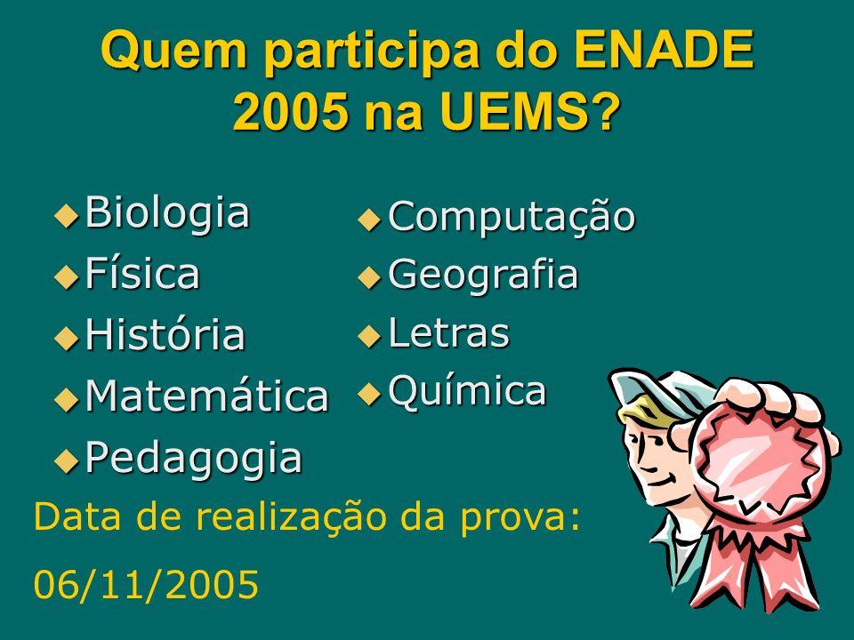 Quem participa do ENADE 2005 na UEMS? Biologia Física História Matemática Pedagogia Computação Geografia Letras Química Data de realização da prova: 0