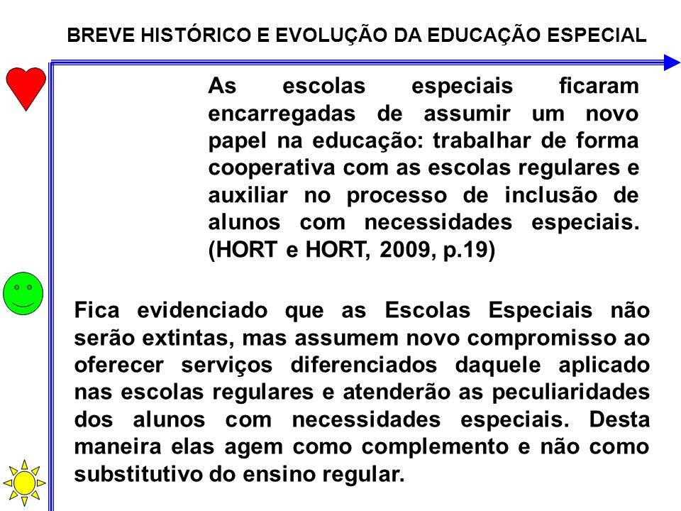 BREVE HISTÓRICO E EVOLUÇÃO DA EDUCAÇÃO ESPECIAL As escolas especiais ficaram encarregadas de assumir um novo papel na educação: trabalhar de forma coo