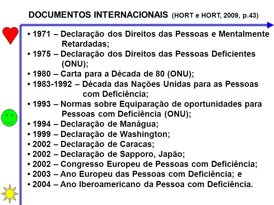 DOCUMENTOS INTERNACIONAIS (HORT e HORT, 2009, p.43) 1971 – Declaração dos Direitos das Pessoas e Mentalmente Retardadas; 1975 – Declaração dos Direito