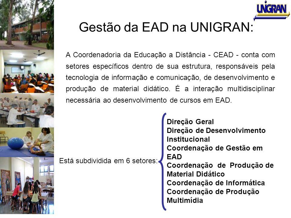 Gestão da EAD na UNIGRAN: A Coordenadoria da Educação a Distância - CEAD - conta com setores específicos dentro de sua estrutura, responsáveis pela te