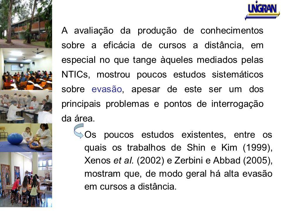 A avaliação da produção de conhecimentos sobre a eficácia de cursos a distância, em especial no que tange àqueles mediados pelas NTICs, mostrou poucos