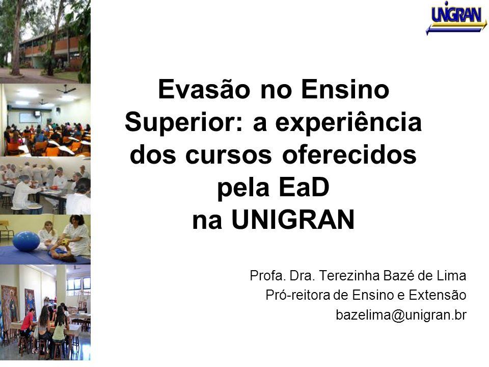 Evasão no Ensino Superior: a experiência dos cursos oferecidos pela EaD na UNIGRAN Profa. Dra. Terezinha Bazé de Lima Pró-reitora de Ensino e Extensão