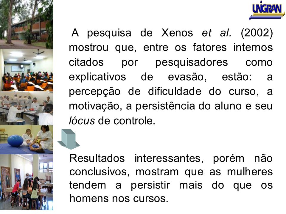 A pesquisa de Xenos et al. (2002) mostrou que, entre os fatores internos citados por pesquisadores como explicativos de evasão, estão: a percepção de