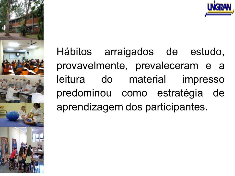 Hábitos arraigados de estudo, provavelmente, prevaleceram e a leitura do material impresso predominou como estratégia de aprendizagem dos participante