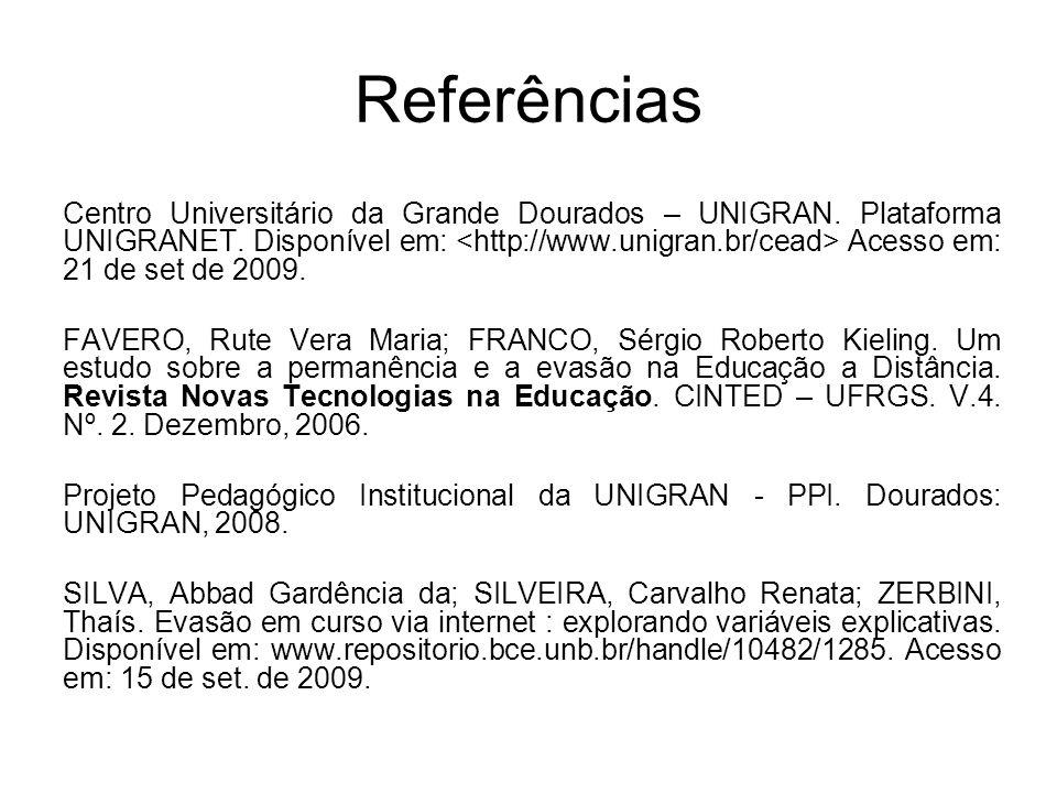 Referências Centro Universitário da Grande Dourados – UNIGRAN. Plataforma UNIGRANET. Disponível em: Acesso em: 21 de set de 2009. FAVERO, Rute Vera Ma