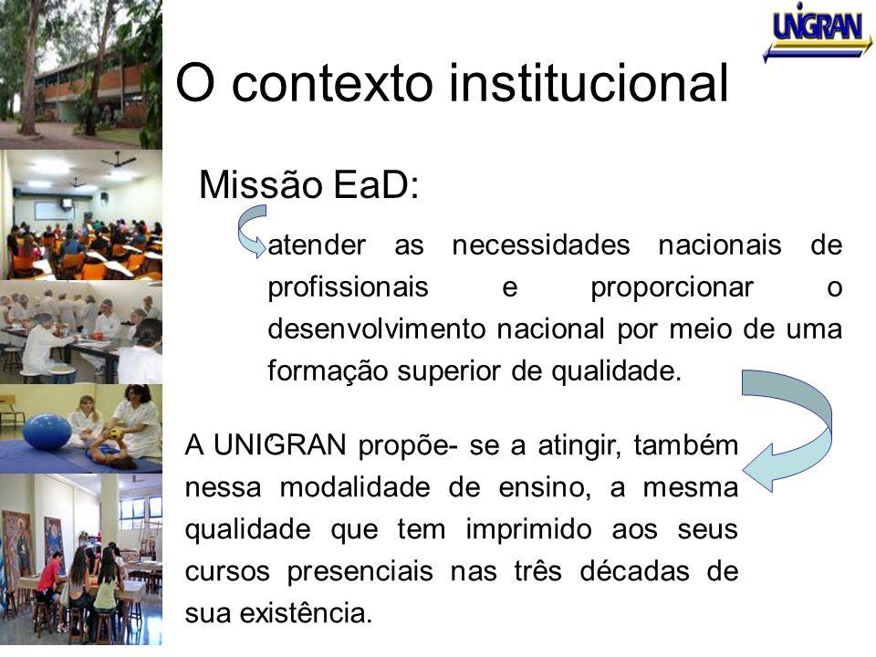 O contexto institucional Missão EaD: atender as necessidades nacionais de profissionais e proporcionar o desenvolvimento nacional por meio de uma form