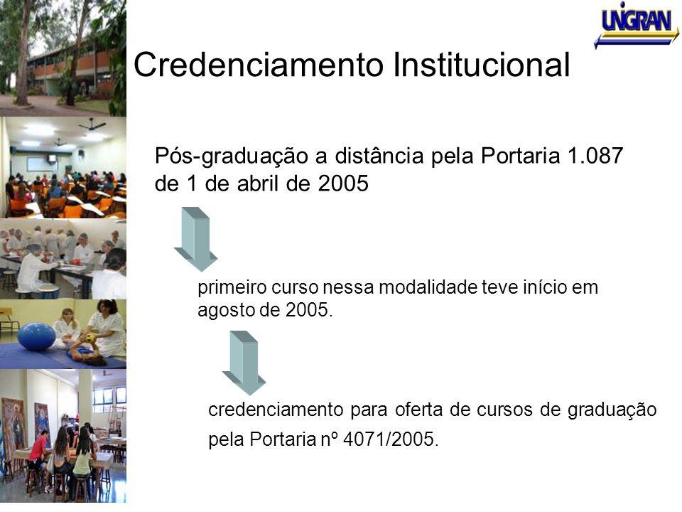 Credenciamento Institucional Pós-graduação a distância pela Portaria 1.087 de 1 de abril de 2005 primeiro curso nessa modalidade teve início em agosto