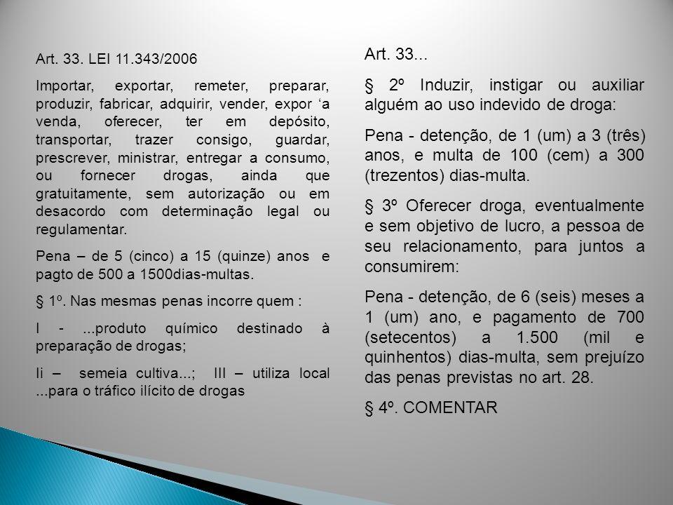 Art. 33. LEI 11.343/2006 Importar, exportar, remeter, preparar, produzir, fabricar, adquirir, vender, expor a venda, oferecer, ter em depósito, transp