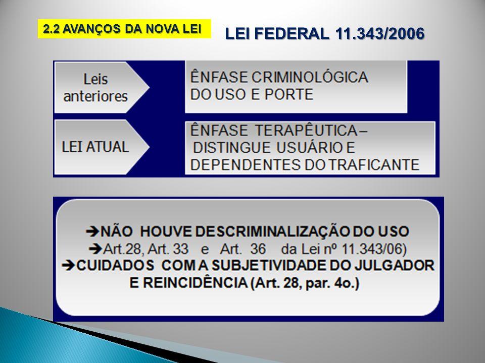 LEI FEDERAL 11.343/2006 2.2 AVANÇOS DA NOVA LEI