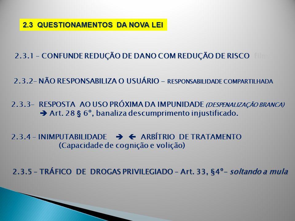 2.3 QUESTIONAMENTOS DA NOVA LEI 2.3.1 – CONFUNDE REDUÇÃO DE DANO COM REDUÇÃO DE RISCO filme 2.3.2– NÃO RESPONSABILIZA O USUÁRIO - RESPONSABILIDADE COM