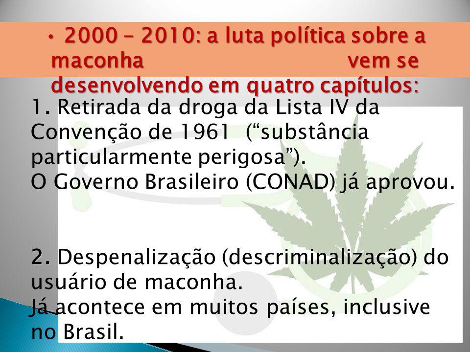 1. 1. Retirada da droga da Lista IV da Convenção de 1961 (substância particularmente perigosa). O Governo Brasileiro (CONAD) já aprovou. 2. 2. Despena