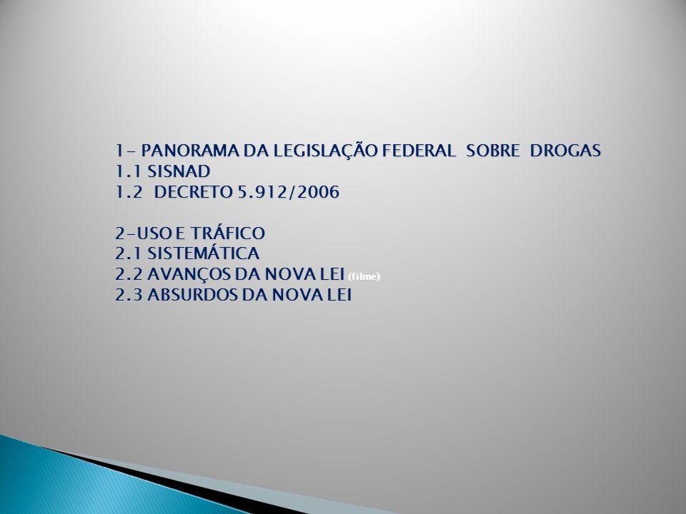 1- PANORAMA DA LEGISLAÇÃO FEDERAL SOBRE DROGAS 1.1 SISNAD 1.2 DECRETO 5.912/2006 2-USO E TRÁFICO 2.1 SISTEMÁTICA 2.2 AVANÇOS DA NOVA LEI (filme) 2.3 A