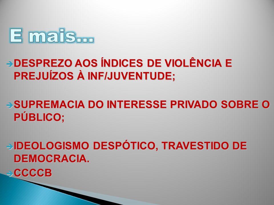 DESPREZO AOS ÍNDICES DE VIOLÊNCIA E PREJUÍZOS À INF/JUVENTUDE; DESPREZO AOS ÍNDICES DE VIOLÊNCIA E PREJUÍZOS À INF/JUVENTUDE; SUPREMACIA DO INTERESSE