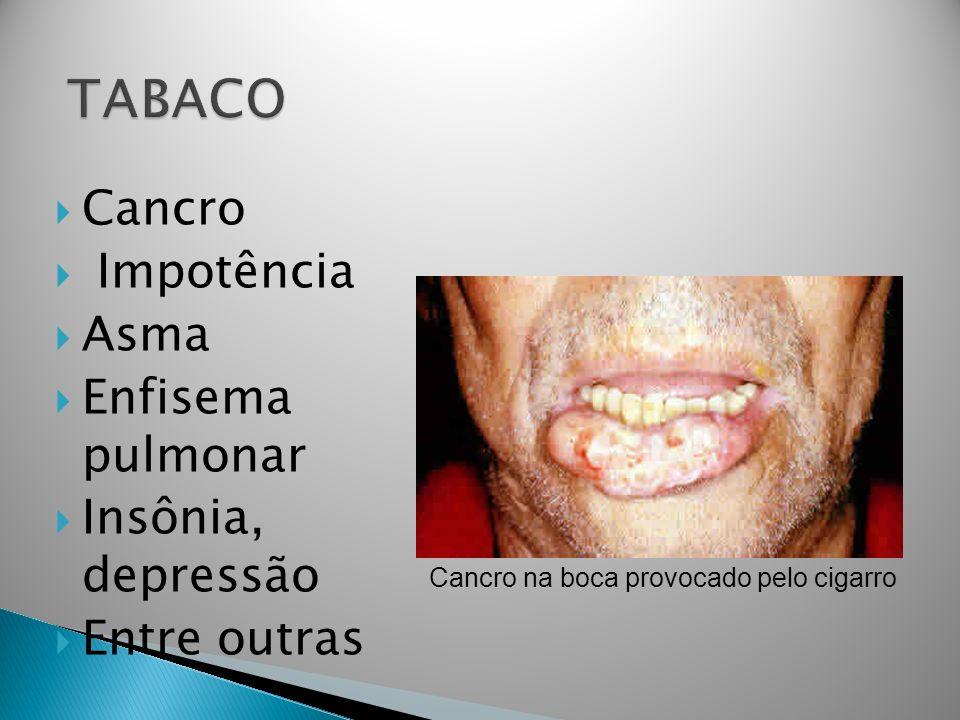 Cancro Impotência Asma Enfisema pulmonar Insônia, depressão Entre outras Cancro na boca provocado pelo cigarro