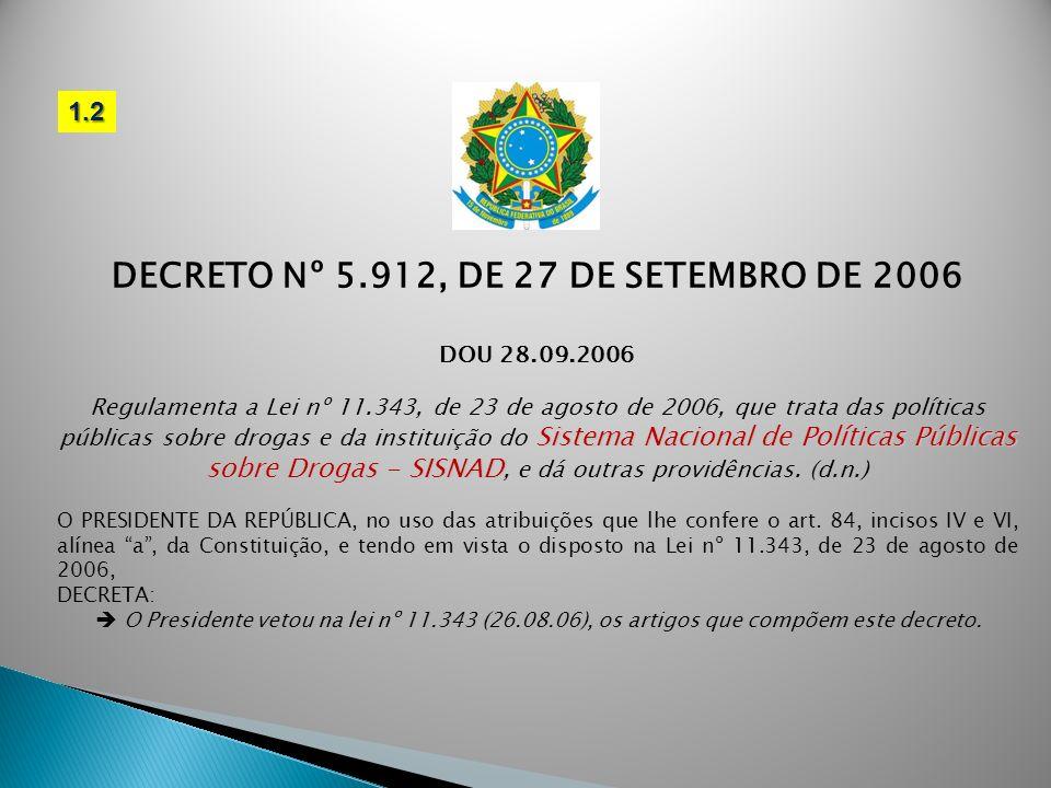DECRETO Nº 5.912, DE 27 DE SETEMBRO DE 2006 DOU 28.09.2006 Sistema Nacional de Políticas Públicas sobre Drogas - SISNAD Regulamenta a Lei nº 11.343, d