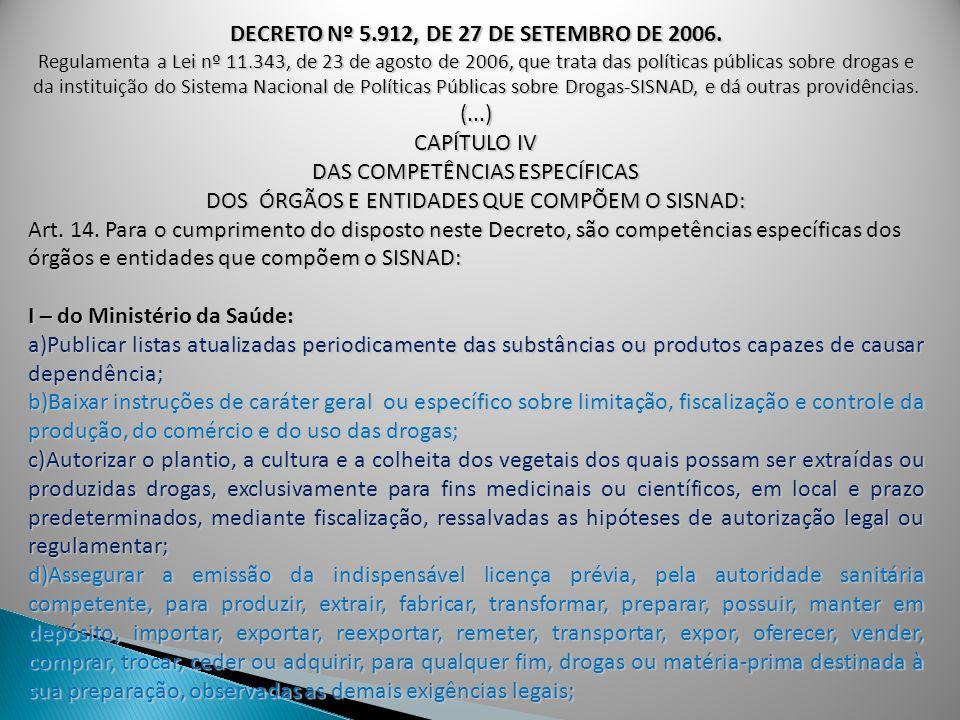 DECRETO Nº 5.912, DE 27 DE SETEMBRO DE 2006. Regulamenta a Lei nº 11.343, de 23 de agosto de 2006, que trata das políticas públicas sobre drogas e da