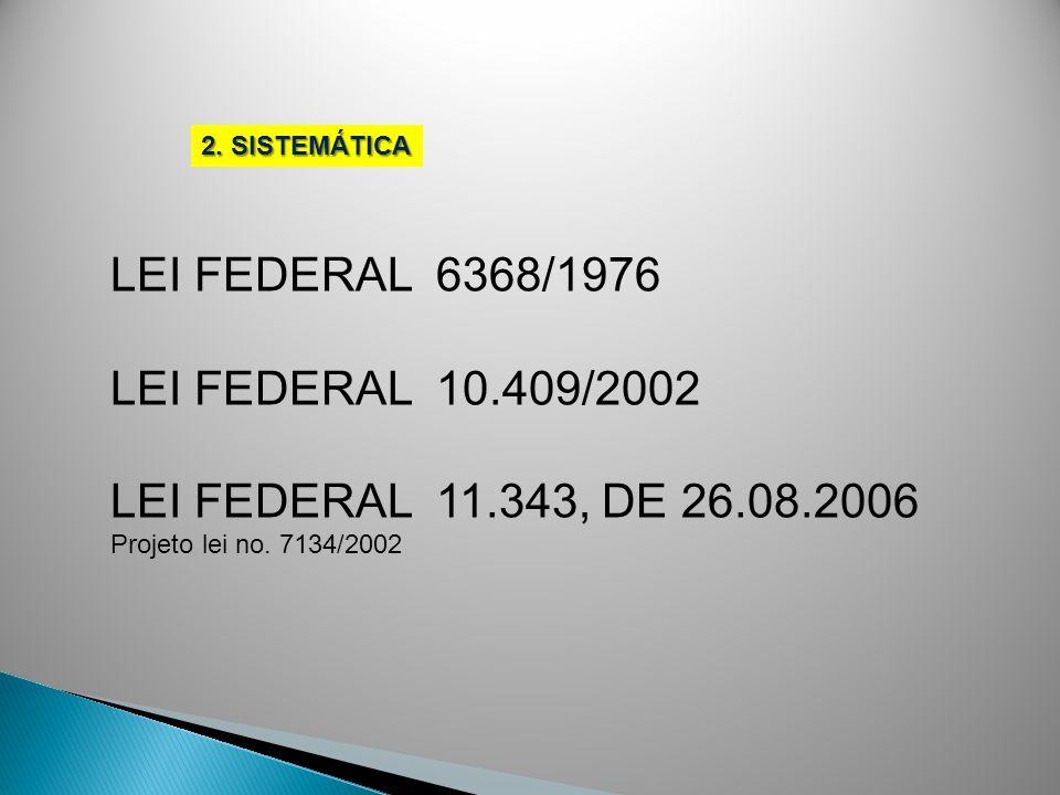 LEI FEDERAL 6368/1976 LEI FEDERAL 10.409/2002 LEI FEDERAL 11.343, DE 26.08.2006 Projeto lei no. 7134/2002 2. SISTEMÁTICA