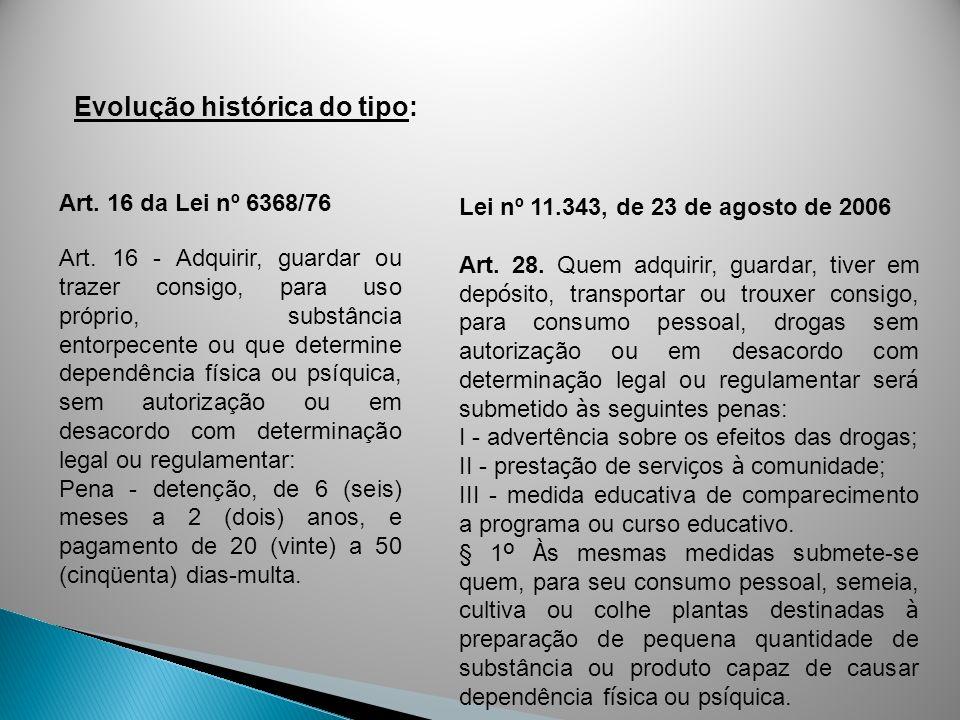 Art. 16 da Lei nº 6368/76 Art. 16 - Adquirir, guardar ou trazer consigo, para uso próprio, substância entorpecente ou que determine dependência física
