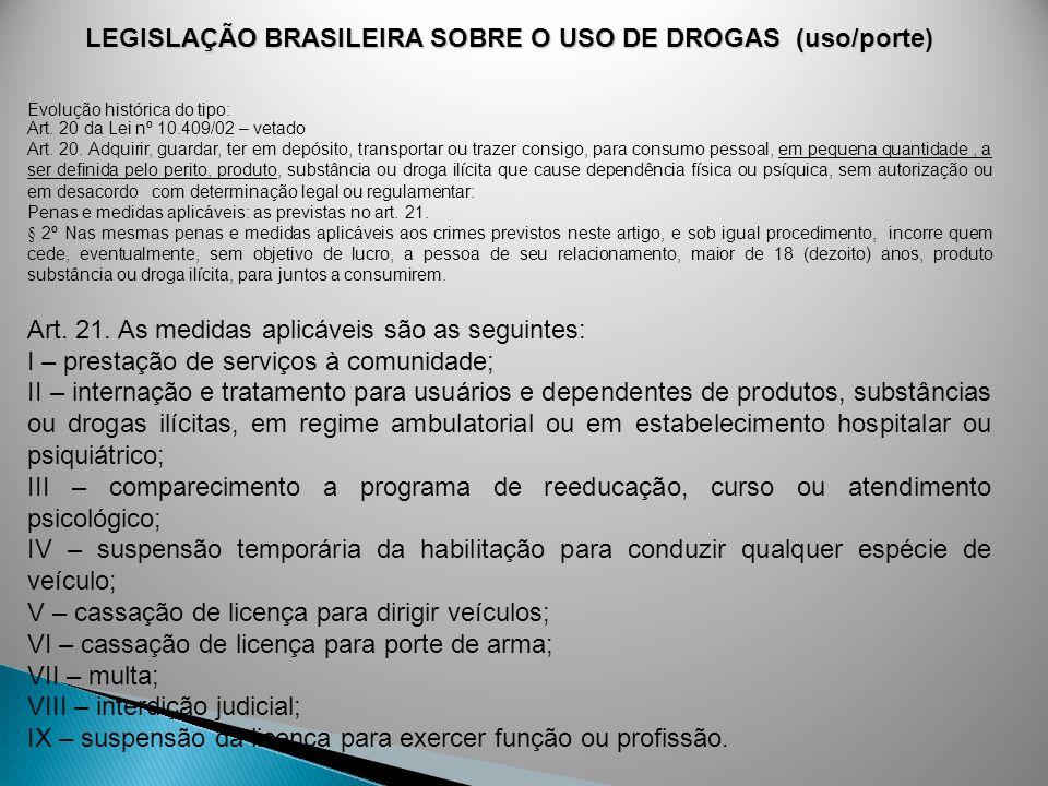 LEGISLAÇÃO BRASILEIRA SOBRE O USO DE DROGAS (uso/porte) Evolução histórica do tipo: Art. 20 da Lei nº 10.409/02 – vetado Art. 20. Adquirir, guardar, t