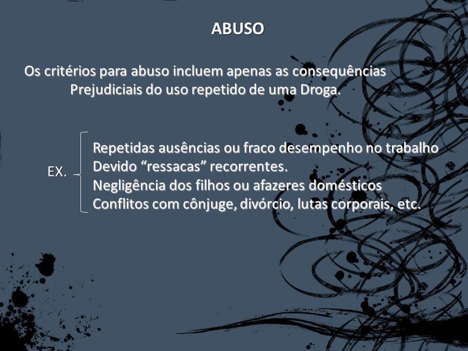 ABUSO Os critérios para abuso incluem apenas as consequências Prejudiciais do uso repetido de uma Droga. EX. Repetidas ausências ou fraco desempenho n