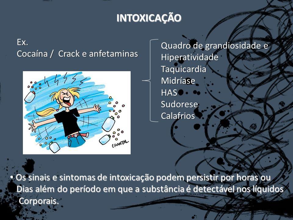 INTOXICAÇÃO Ex. Cocaína / Crack e anfetaminas Quadro de grandiosidade e HiperatividadeTaquicardiaMidríaseHASSudoreseCalafrios Os sinais e sintomas de