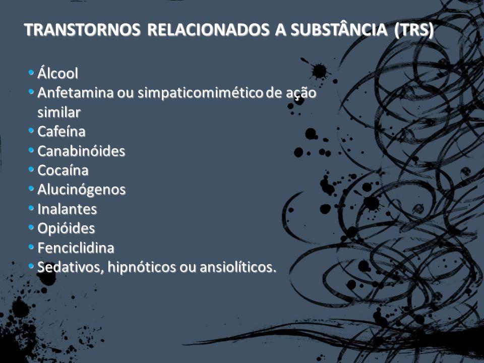 Cocaina Intoxicação: Agitação, irritabilidade; Julgamento prejudicado; Comportamento sexual impulsivo e perigoso; Agressividade; Sintomas de mania; Taquicardia; Hipertensão; Midríase