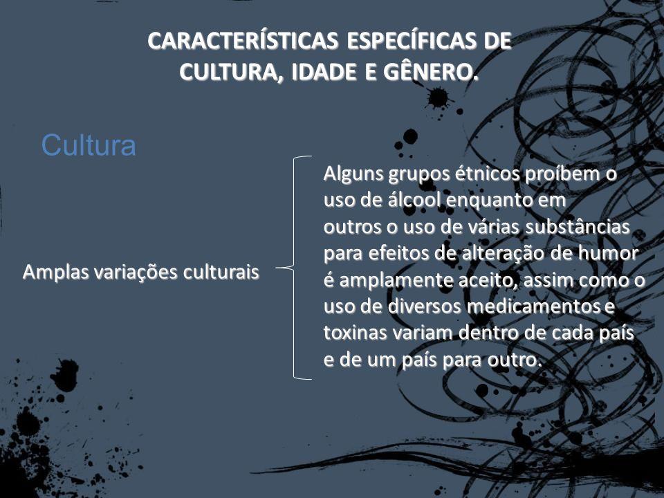 CARACTERÍSTICAS ESPECÍFICAS DE CULTURA, IDADE E GÊNERO. Amplas variações culturais Alguns grupos étnicos proíbem o uso de álcool enquanto em outros o