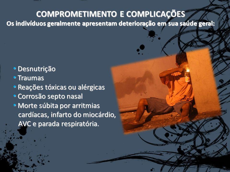 COMPROMETIMENTO E COMPLICAÇÕES Os indivíduos geralmente apresentam deterioração em sua saúde geral: Desnutrição Desnutrição Traumas Traumas Reações tó