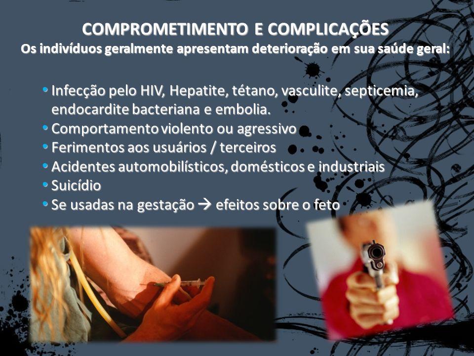 Infecção pelo HIV, Hepatite, tétano, vasculite, septicemia, endocardite bacteriana e embolia. Infecção pelo HIV, Hepatite, tétano, vasculite, septicem