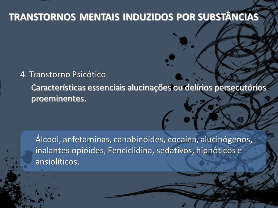 TRANSTORNOS MENTAIS INDUZIDOS POR SUBSTÂNCIAS Características essenciais alucinações ou delírios persecutórios proeminentes. 4. Transtorno Psicótico Á