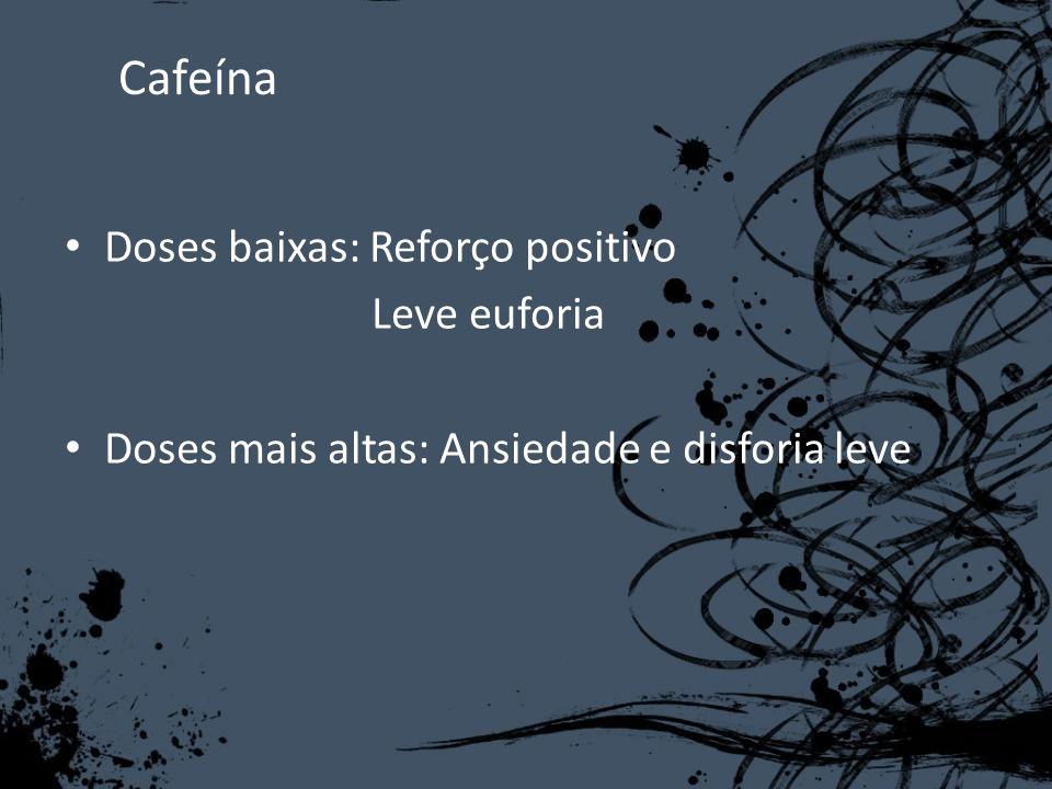 Cafeína Doses baixas: Reforço positivo Leve euforia Doses mais altas: Ansiedade e disforia leve