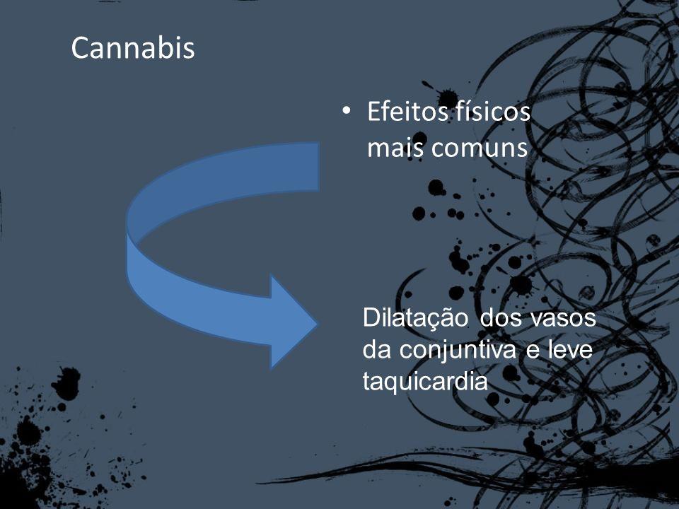 Cannabis Efeitos físicos mais comuns Dilatação dos vasos da conjuntiva e leve taquicardia
