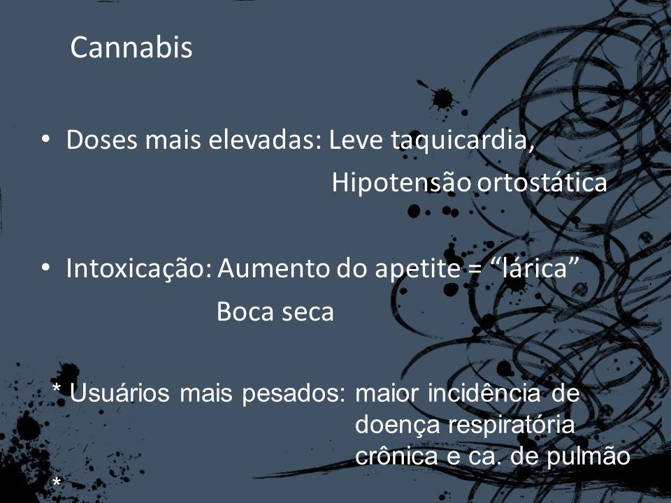 Cannabis Doses mais elevadas: Leve taquicardia, Hipotensão ortostática Intoxicação: Aumento do apetite = lárica Boca seca * Usuários mais pesados: mai