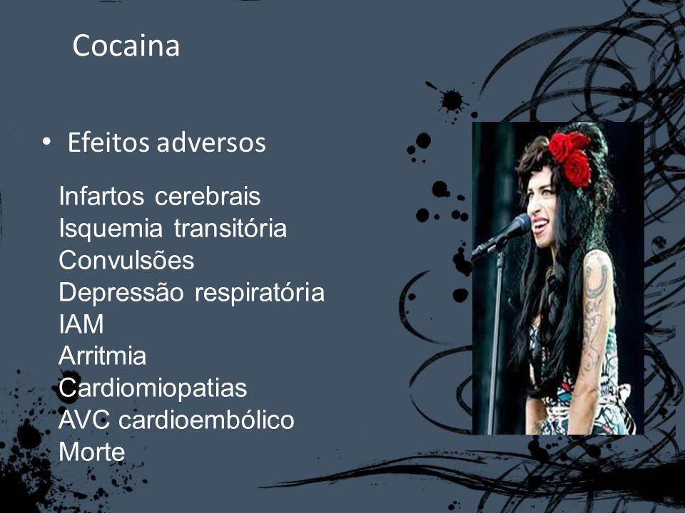 Cocaina Efeitos adversos Infartos cerebrais Isquemia transitória Convulsões Depressão respiratória IAM Arritmia Cardiomiopatias AVC cardioembólico Mor